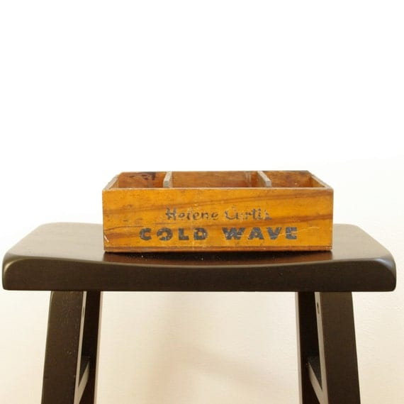 Vintage helene curtis cold wave wooden box by for Vintage sites like etsy