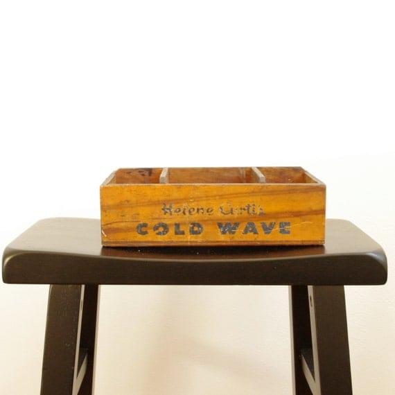 Vintage helene curtis cold wave wooden box by for Vintage sites like etsy