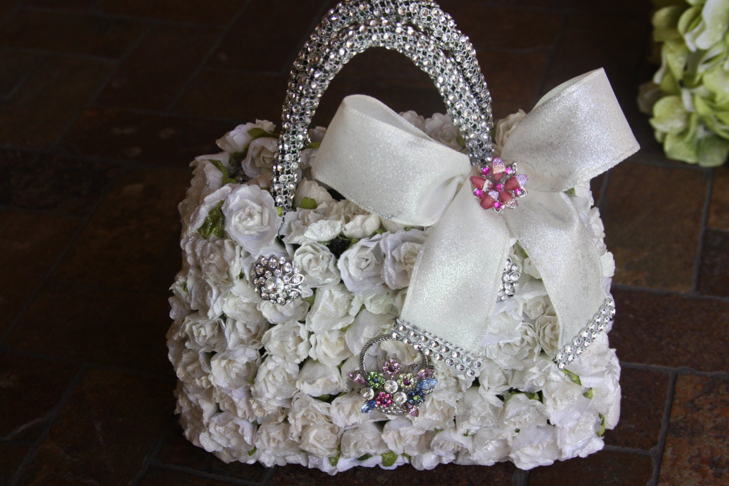 Flower Girl Baskets How To Make : White flower girl basket with paper roses and brooches for
