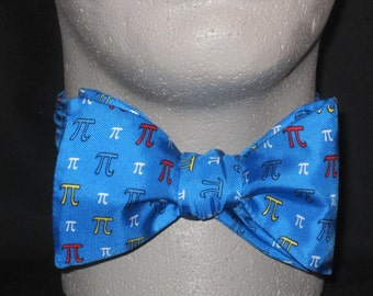 BOW TIE Blue Pi SILK  bowtie 3.14 Mathematics Mathematician Freestyle Self Tie Engineer Math Physics Physicist PhD Doctor