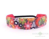 """Non Slip Headband 1.5"""" Wide Grey Multi Color Floral"""