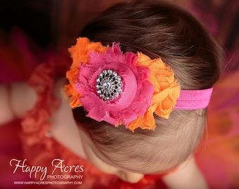Newborn Headband, Baby Headband, Toddler Headband, Girls Headband, Shabby Flower Headband, Pink and Orange, Shabby Headband