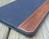 wood IPAD MINI case hand polished exotic rosewood, black herringbone Leather  real wood and leather , black edge