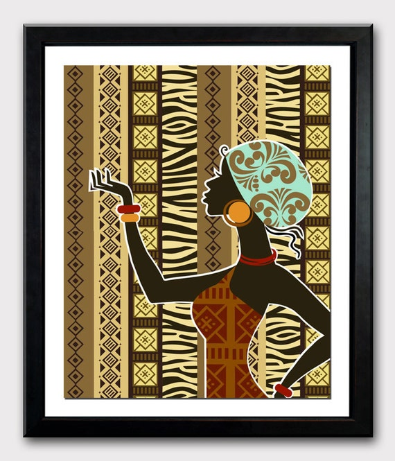 african artwork african woman african painting by iqstudio. Black Bedroom Furniture Sets. Home Design Ideas
