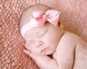 pink baby bow headband, headband set, grey baby headband, newborn headbands,