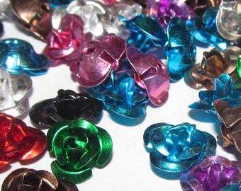 50 Aluminum Flower Beads - Mixed Colours (003)
