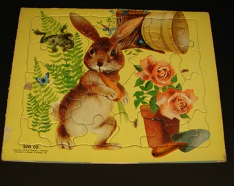 Vintage Child's Bunny Puzzle Rabbit and Roses made by Sifo
