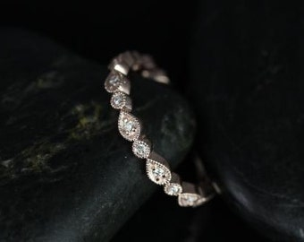 Rosados Box Madeline 14kt Rose Gold Pear and Bubble Diamond ALMOST Eternity Ring