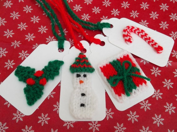 Knitting Christmas Presents : Items similar to christmas knitted gift tags present