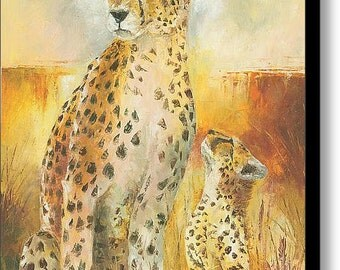 Cheetah and her Cub art painting and prints