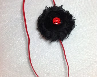 Lady Bug Headband, Black Shabby Chic Flowers on a Skinny Elastic Headband with a Lady Bug Embellishment , Infant to Adult
