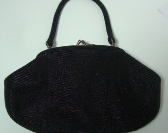 Plain black beaded evening handbag,1960s vintage Japanese