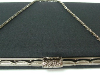 Black silk handbag or clutch purse, 1980s vintage Japanese