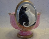 Jewelry Trinket Candy Flower Dish - Cats In Love