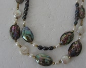 Abalone pearl Gold filled necklace - Double Strands necklace *