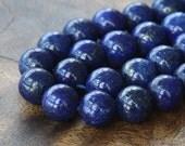Lapis Lazuli Gemstone Beads, 10mm Round - 7 inch strand - eGR-LL001-10