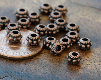 Spacer Beads, Antique Copper, 5x3mm Daisy and Rope - 100 pcs - eTS004AC-5x3