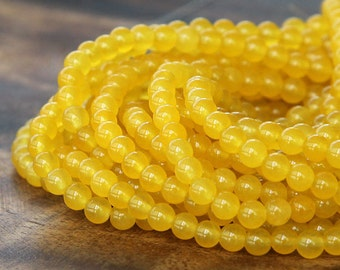 Dyed Jade Beads, Sun Yellow Semi-Transparent, 4mm Round - 16 Inch Strand - eSJR-Y02-4