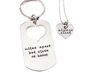 Deployment Key Chain Necklace Set - Hand Stamped Stainless Steel - Miles Apart But Close At Heart - Soldier Necklace - Long Distance Love