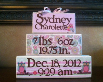 Personalized Baby Gift / Personalized Wood Baby blocks -  Birth Announcement - Owl Themed nursery decor