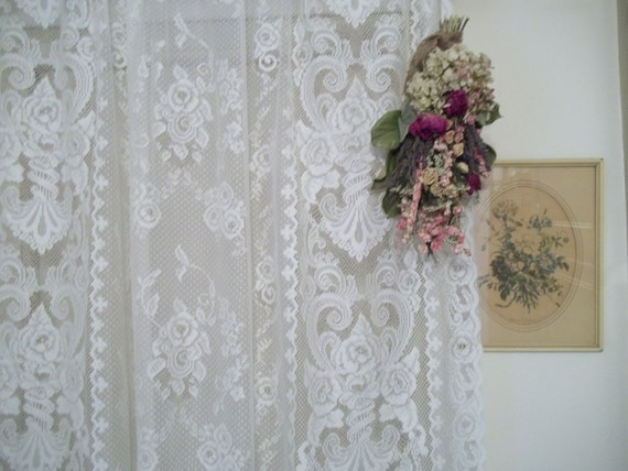 Vintage Shabby Chic Lace Victorian Style Rose Lace Curtains