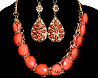 Coral Acrilic Bead and Gold Necklace
