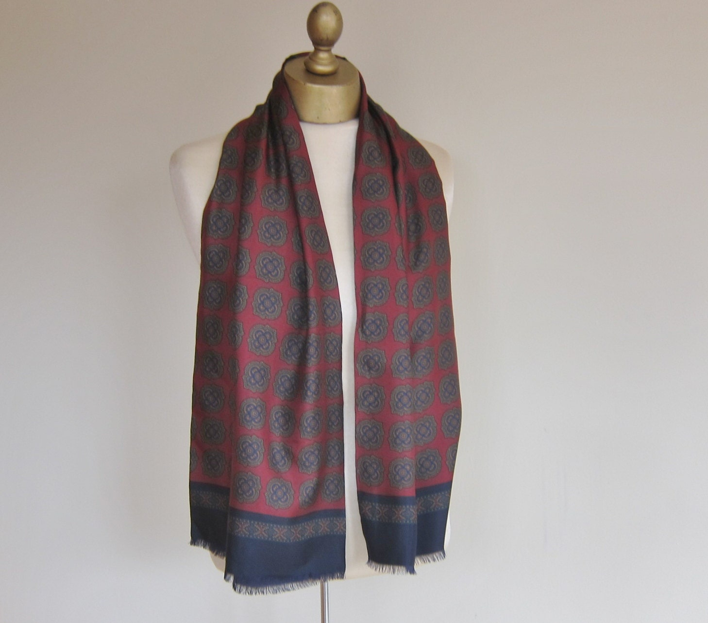 GENTLEMENS vintage silk scarf Italian by foulardfantastique Vintage Silk Scarves