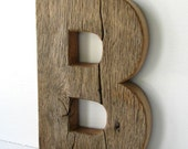 Unfinished Rustic Barn Wood Letter B - 12 inches tall