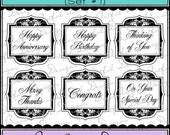 Digital Printable Stamps, Sentiments, Word Art, Clip Art, Card Making, Scrapbooking  -Set of 6 -FANCY LABELS OCCASIONS -Set 1