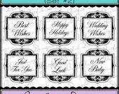 Digital Printable Stamps, Sentiments, Word Art, Clip Art, Card Making, Scrapbooking  -Set of 6 -FANCY LABELS OCCASIONS -Set 2