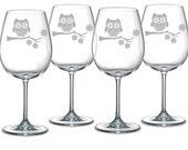 Owl Sand Carved (etched, sandblasted) Choice of Pilsner, Beer Mug, Pub, Wine Glass, Coffee Mug, Water Glass