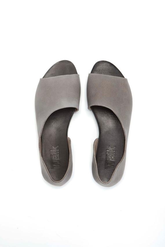 SALE 50% Grey Open toe women shoes