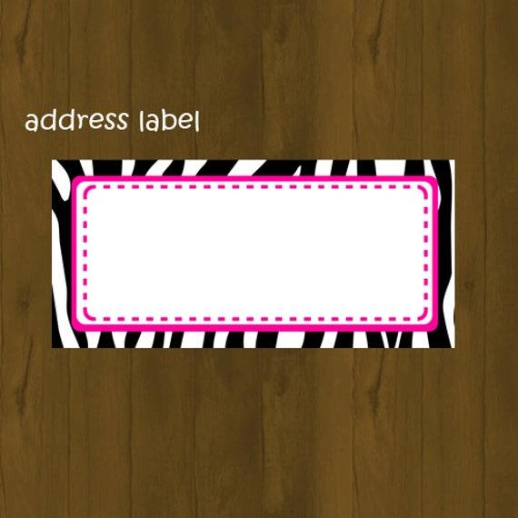 Hot Pink and Zebra address label Zebra by SplashboxPrintables