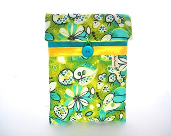 ipad 8 inches sleeve,stuffed green and turquoise fabric
