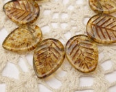 16mm Natural Brown with Picasso Finish Leaf Czech Glass Beads - 10