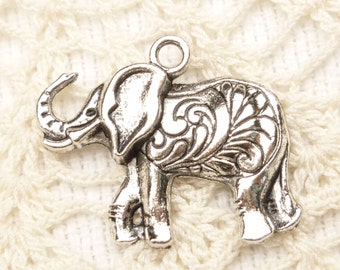 Ornate, Elephant Charm Pendant, Antique Silver (4) - S131