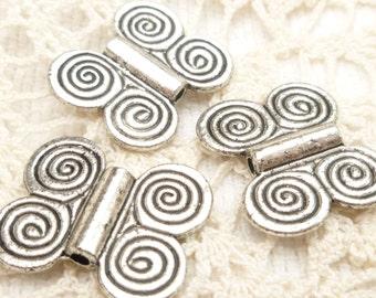 Silver Swirl Ethnic Flat Spacer Bead (6) - S140