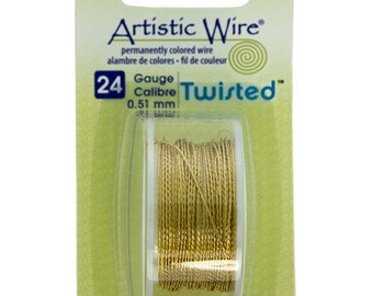 24ga Artistic Wire Twisted Brass In Color NonTarnish Wire 15 Foot SALE