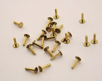 "Brass Solid Rivets 1.3mm Wide x 1/4"" Long Package Of 100"