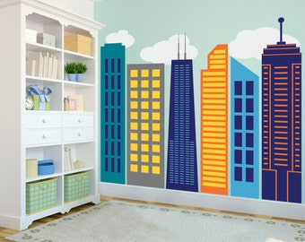 Bold Colorful Geometric City Skyline - Wall Decal Custom Vinyl Art Stickers