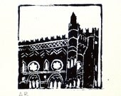 Lino print of Templeton Carpet Factory. Original hand pulled mounted lino print