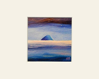 Mounted fine art print of Scottish landscape painting 8x8. Ailsa Craig over the sea.