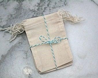Muslin favor bags, 2.5 x 4. Set of 25. Unprinted natural cotton double drawstring bags. DIY wedding favor bags.