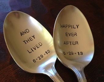 And they lived happily ever after  Wedding Spoons Hand Stamped Vintage Silverplate