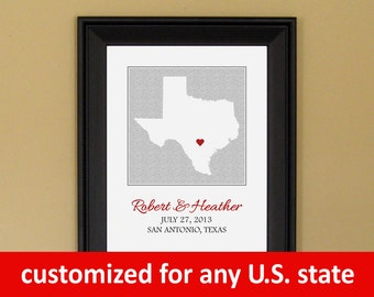 Engagement Gift for Bride - 1st First Anniversary - 25th Anniversary - Personalized Wedding Gift - Custom Texas State Print - 11 x 14 (2015)
