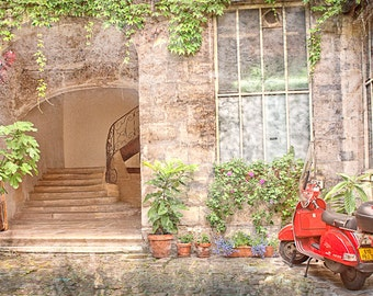 "The Red Moped in Paris France 8""X12"" photograph."