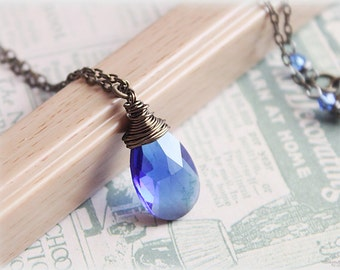 Blue crystal necklace wire wrapped faceted large sapphire color glass antiqued solid brass chain