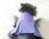 Small Dog Clothing Dress Made to Order for Good Fit - Lavender Stretch Cotton w/Two Box Pleats and Satin Roses Yorkie