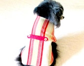 Pet Clothes - OOAK Ready to Ship Coat for Small Dog Size XSmall - Cream, Crimson & Gold Fleece Striped with Half-belt Shih Tzu