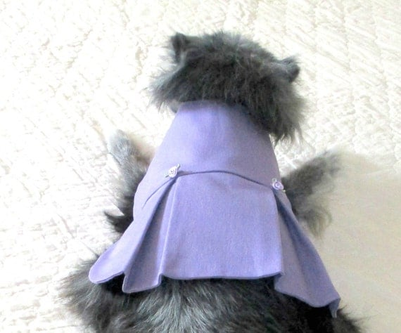 Small Dog Dress, Dog Dress,  Lavender Stretch Cotton, Made to Order for Good Fit, Yorkie Pomeranian Shih Tzu